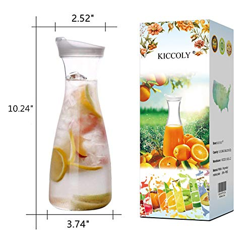 ✅Pitcher Carafes with Lid for Juice 34 oz Plastic Carafe with Lid for Juice with Lid Decanter Drink Bottle 1 Liter Pitcher Beverage Container Kettle Carafes for Juice Plastic
