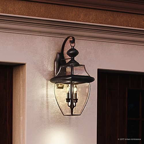 Luxury Colonial Outdoor Wall Light, Large Size: 20''H x 10.5''W, with Tudor Style Elements, Versatile Design, High-End Black Silk Finish and Beveled Glass, UQL1144 by Urban Ambiance by Urban Ambiance