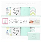 SwaddleDesigns Cotton Muslin Swaddle Blankets, Set of 4, SeaCrystal Sheep Sleep
