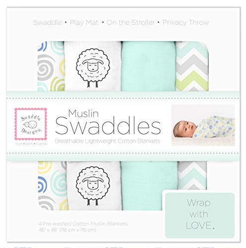 SwaddleDesigns Cotton Swaddle Blankets SeaCrystal
