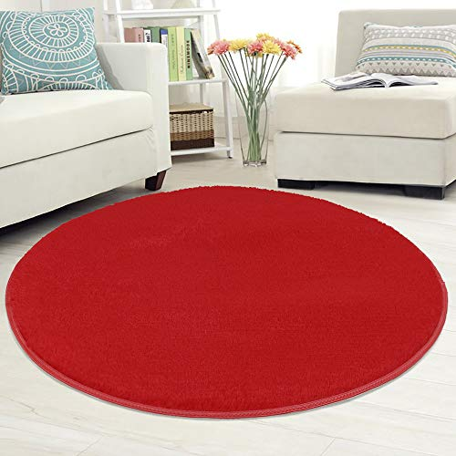 (Nursery Rug Super Soft Fluffy Round Area Rug Anti-Skid Indoor Modern Carpet Floor Mat for Home Bedroom Kids Room Woman Yoga, 39 Inches (Red))