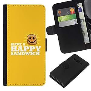 Protector de cuero de la PU de la cubierta del estilo de la carpeta del tirón BY RAYDREAMMM - Samsung Galaxy A3 - Feliz Sandwich divertido Lol