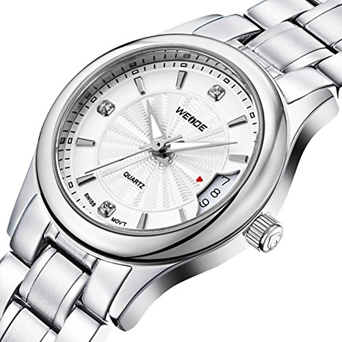 Gullor Weide Watches Men's fashion casual sports silver steel watch with calendar - white