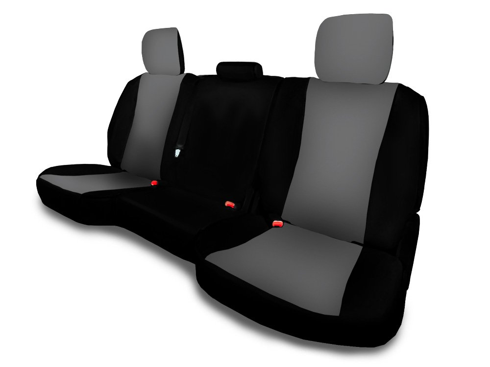 CarsCover Custom Fit 2013-2018 Dodge Ram 1500 2500 3500 Pickup Truck Neoprene Car Rear 60/40 Seat Covers without Armrest Gray & Black Sides