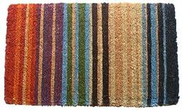 Rainbow Stripe Hand Made Extra Thick Coir Doormat 18\