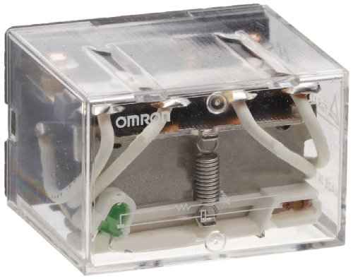 Omron LY4N-AC24 General Purpose Relay, LED Indicator Type, Plug-In/Solder Terminal, Standard Bracket Mounting, Single Contact, Quadruple Pole Double Throw Contacts, 93.6 mA at 50 Hz and 80 mA at 60 Hz Rated Load Current, 24 VAC Rated Load Voltage