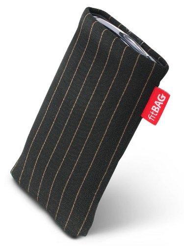 fitBAG Twist Schwarz Handytasche Tasche aus Nadelstreifen-Stoff mit Microfaserinnenfutter für APPLE iPhone 3Gs 32GB 32 GB