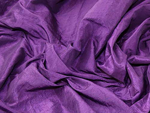 Crushed Textured Shot Taffeta Dress Fabric Purple - per metre
