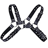 iiniim Men's Adjustable PU Leather Chest Harness