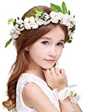 Bienvenu Girl Flower Crown With Floral Wrist Band For Wedding Festivals,White
