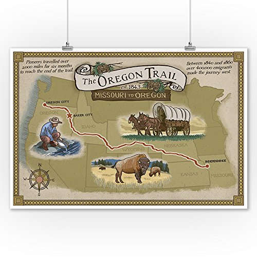 Buy oregon trail map poster