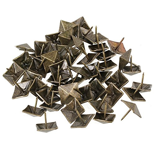 Ewead, 19 x 21mm Bronze Antique Square Upholstery Nails Tack Pyramid Studs Vintage Iron Furniture Nails Pack of 50
