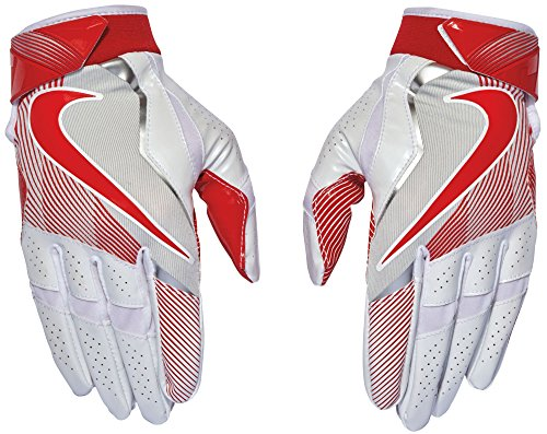 Nike Men's Vapor Jet Lightspeed Football Gloves (White/University Red, Large)