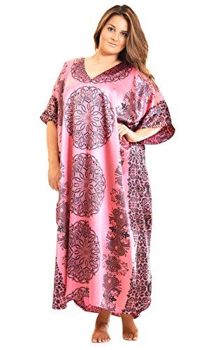 Pink Caftan - Up2date Fashion Women's Satin Caftan/Kaftan in Pink Mandala Print, Style Caf-95