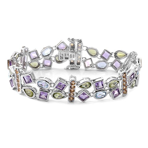 Multi Gemstone Rhodium Plated Silver Double Row Station Bracelet 11.9 cttw Size 7.50