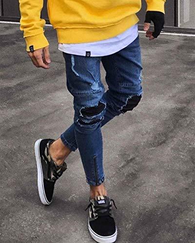 Pantaloni Vintage Chiusura Jeans Uomo Chel Su Stretch Con Strappati Estilo Bobo Dunkelblau Denim Da 88 Especial Skinny In 1w6BPB