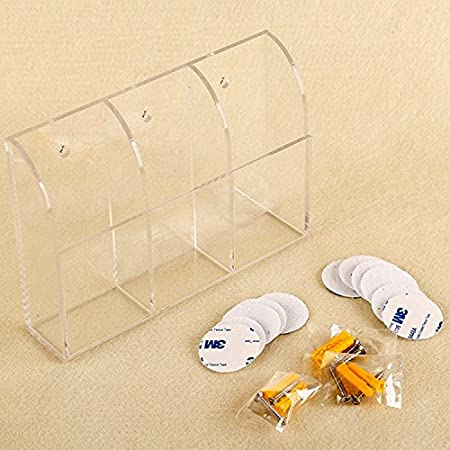 Screw Kits and Sticker Included Chris.W Acrylic Remote Control Holder Wall Mount Media Organizer Box 3-Slot