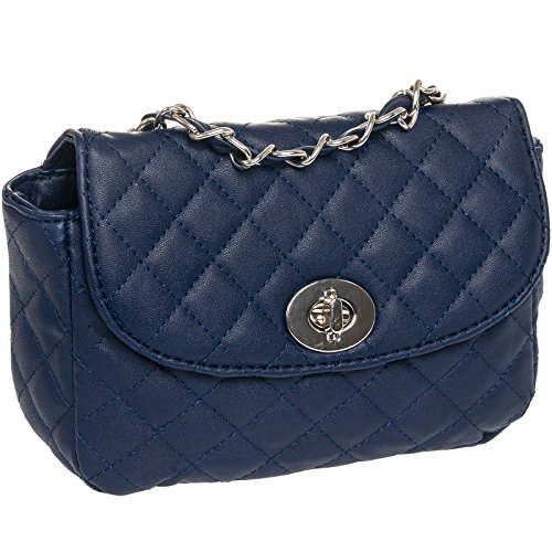Womens Quilted Crossbody Bag by Silverhooks - Pattern Shoulder Mini Handbag (Navy Blue)