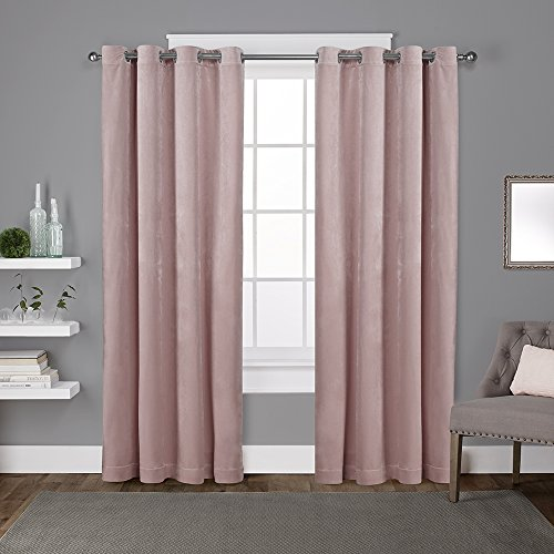 Exclusive Home Curtains Velvet Heavyweight Window Curtain Panel Pair with Grommet Top, 54x96, Blush, 2 Piece (Velour Red Curtains)