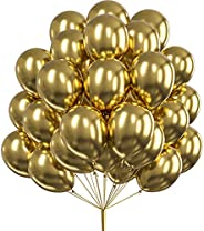 PartyWoo Gold Balloons, 50 pcs 12 inch Metallic Balloons and 20m Ribbon, Gold Metallic Balloons, Latex Balloon
