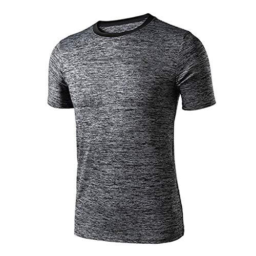 Quick-Dry Tops, Quick Dry Men' Running T-Shirt High Elastic Sport Outdoor Leisure SportswearSoccer Jersey Men's Top Grey XL