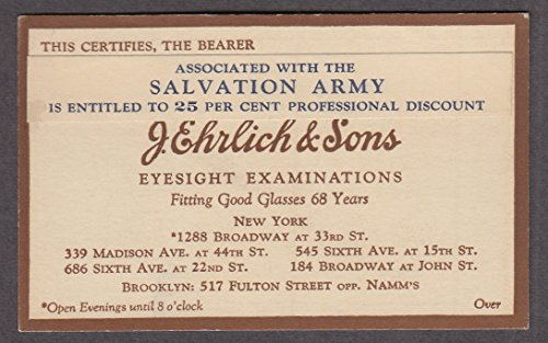 J Ehrlich Eyesight Exams Salvation Army Professional Discount Card NYC ca ()