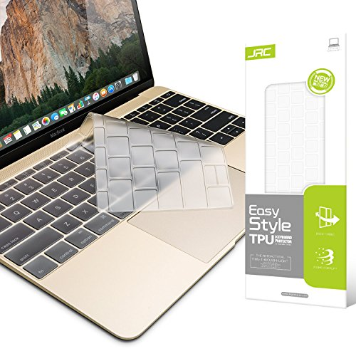 JRC Premium Keyboard Skin, Ultra Thin TPU Keyboard Cover for Macbook Pro 13 inch without Touch Bar (A1708,2016/2017) & Macbook Pro Retina 12 inch Keyboard Cover Case A1534 (Clear)