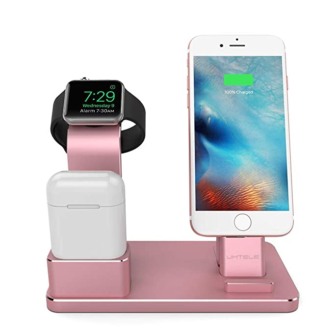 uk availability 629ce ea816 UMTELE Compatible with iPhone and Apple Watch Charging Dock, Aluminum  iPhone Charger Stand AirPods Holder Compatible with Apple Watch Series  4/3/2/1, ...