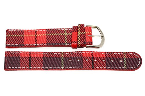 14mm Red Plaid Stitched Watch Band Strap