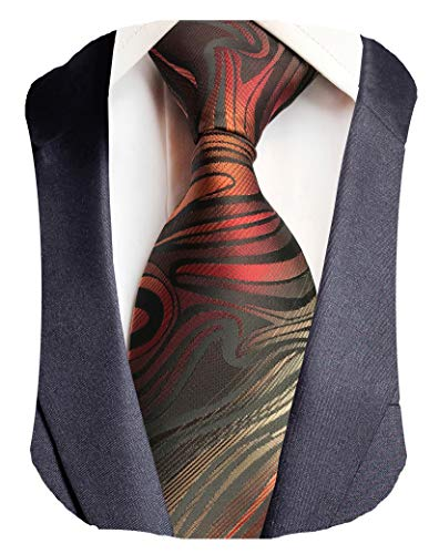 GUSLESON Brand New Striped Ties For Wedding Mens Silk Necktie (0786-19)