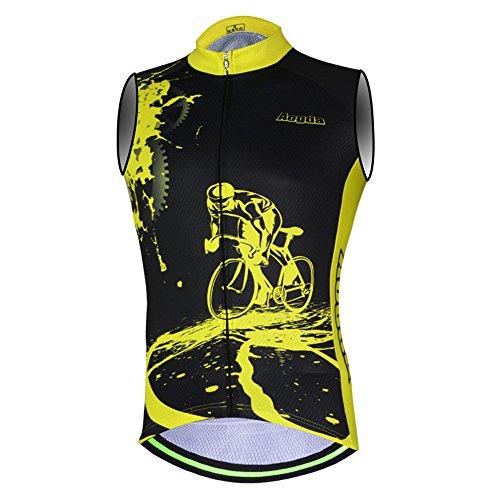 Sleeveless Cycling Jersey Aogda Men Bicycle Bike Shirts Vest Clothing Biking Bicycle Bib Shorts (Black Vest Jerseys, XL) (Bib Jersey Sleeveless)