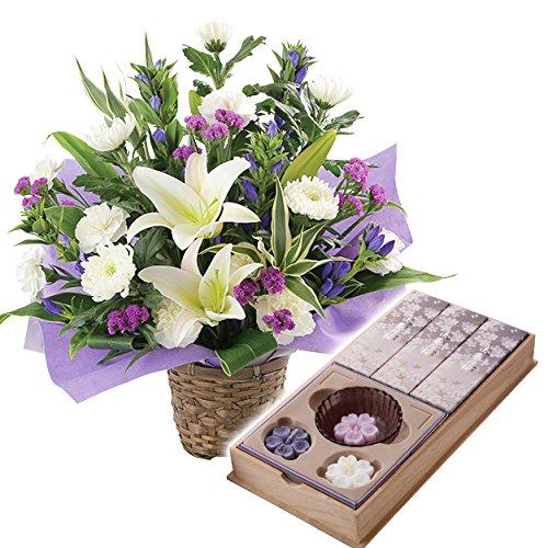 お供え 生花 アレンジメント 日本香堂 宇野千代の浮きローソクお線香セット B01HEO8OKM