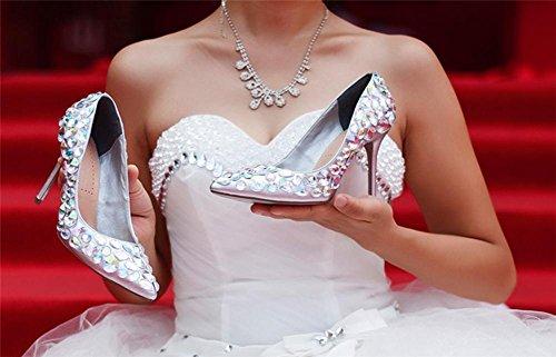 NVXIE Zapatos Nocturno Mano Hecho Zapatillas 8 UK Tamaño SILVER Tacón Negro 42 Puntiagudo 35 Boda 41 Club Alto pie a Mujeres del EUR Estilete Elegante Corte Dedo EUR40UK7 7 5 I8qr8T