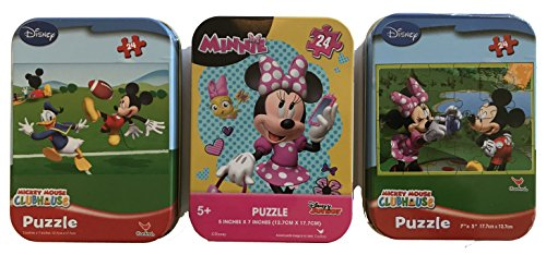 (3 Collectible Mini Jigsaw Puzzles in Travel Tin Cases: Mickey, Minnie, and Mickey & Minnie Gift Set Bundle (24 Pieces))
