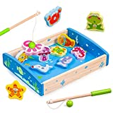 Yikky Wooden Magnetic Fishing Toy With Wooden Ocean Animal Magnets (12 PCS) for age 2 Year Old and Up Boy Girl Gift as Magnetic Bath Fishing Travel Table Game, Activity Center Shape Color Sorter Toy