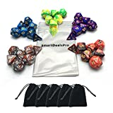 SmartDealsPro 5 x 7-Die Series Two Colors Dungeons and Dragons DND RPG MTG Table Games Dice with FREE Pouches
