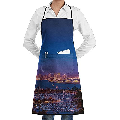 ZhiqianDF San Diego California Night With Large Moon On The Horizon Yachts Panorama Chef Servers Black One Size Apron With Pockets - Painters Diego San