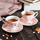 BTaT- Floral Tea Cups and Saucers, Set of 2 (Pink - 8 oz) with Gold Trim and Gift Box, Coffee Cups, Floral Tea Cup Set, British Tea Cups, Porcelain Tea Set, Tea Sets for Women, Latte Cups