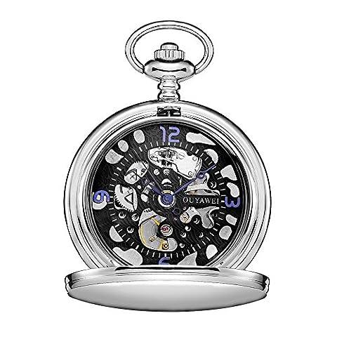 OUYAWEI Silver Antique Pocket Watch With Chain Men Hand Wind Mechanical Pocket Watch Fob Arabic (Men Antique Watch)