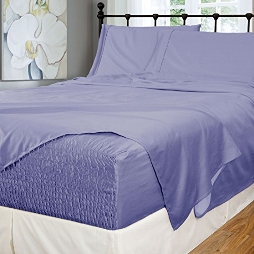 Bed Tite Stretch Fit 500-Thread Count Cotton Rich Super Silky Deep Pocket Sheet Set (King, Slate Blue)