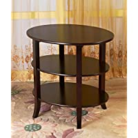 Frenchi Home Furnishing 3-Tier Oval End Table, Espresso