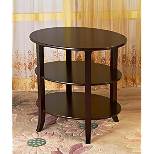 Frenchi Home Furnishing 3 Tier Oval End Table, Espresso