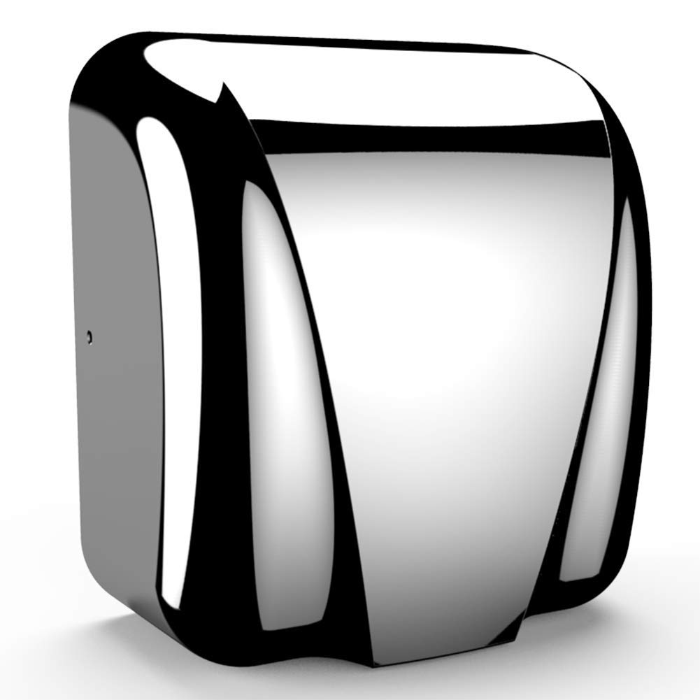 Commercial Bathroom Hand Dryer, Polished Stainless Steel Shell, Powerful 1800W - Dry Hands in 10s, Low Noise 70 dB, Set of 1 by Commercial Hand Dryer