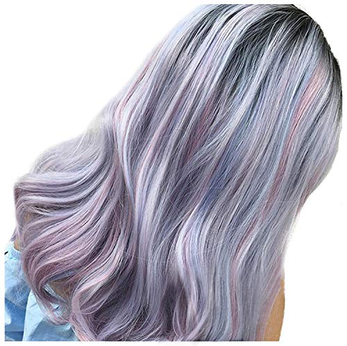 FESHFEN 18 Inch NONE Lace Front Wigs Lilac Purple Mixed Pink Wig Dark Roots Right Side Part Heat Resistant Synthetic Wigs No Bangs Wig for Women Girls(Black&purple&blue),170 Grams