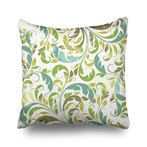 Throw Pillow Covers Floral Ornament Leafs Flowers Wallpaper Square Size 16 x 16 inches Decorative Pillow Cases Home Decor Zippered Bedroom Sofa Pillowcase