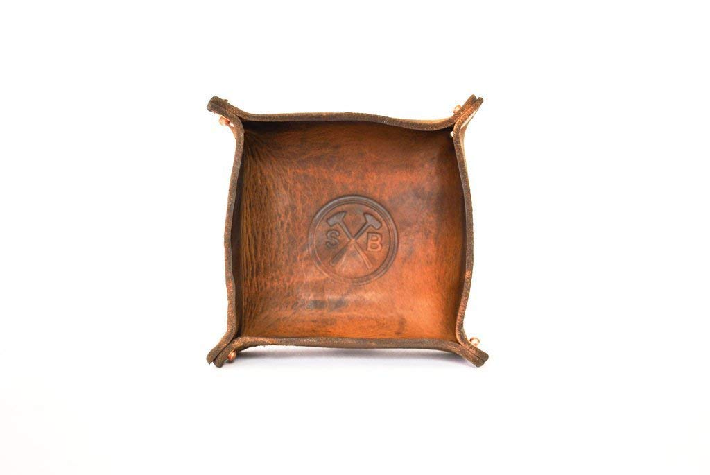 All Leather Catch All Bowl - Decorative Dish for Keys, Coins, Jewelry - Valet Tray