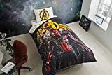 LaModaHome 3 Pcs Twin and Single Bedroom Bedding Soft Colored 100% Cotton Licensed Single Quilt Duvet Cover Set Cartoon Movie Child Series Avangers Infinity War Single Bed with Fitted Sheet