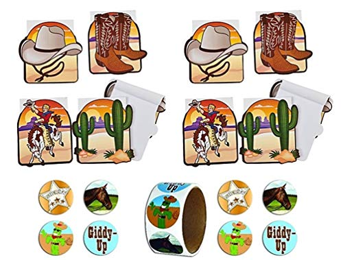 HAPPY DEALS ~ (24) Western Cowboy Theme Party Notepads + Western Party Stickers - 100 per roll]()