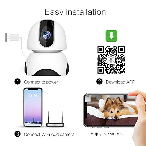 1080P Wireless IP Camera, 360 Home WiFi Security Camera Indoor Surveillance Camera System Panorama View for Pet/Baby Monitor Remote Viewer Nanny Cam with Pan/Tilt, Two-Way Audio & Night Vision by SHome (Image #7)
