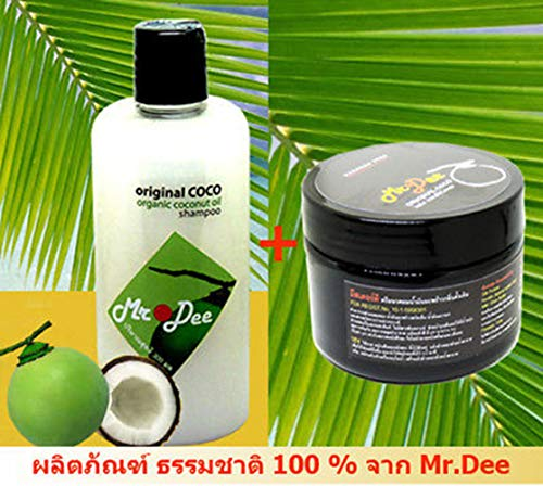 Mr.Dee 100% Natural Original Coconut Shampoo Volume 300 ml. & Hair Conditioner Volume 250 ml. for Every Hair Condition Especially Oily Hair, Dyed Hair, Stopping Hair Loss.